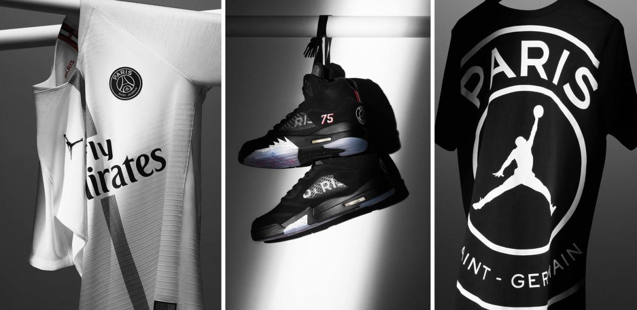 Jordan and Paris Saint-Germain collection collaboration kits apparel sneakers air Jordan retro 5